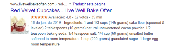 "rich snippet for ""red velvet cupcake recipe"""