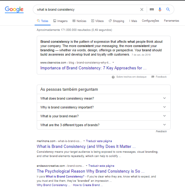 example of a serach on google, representing SEO