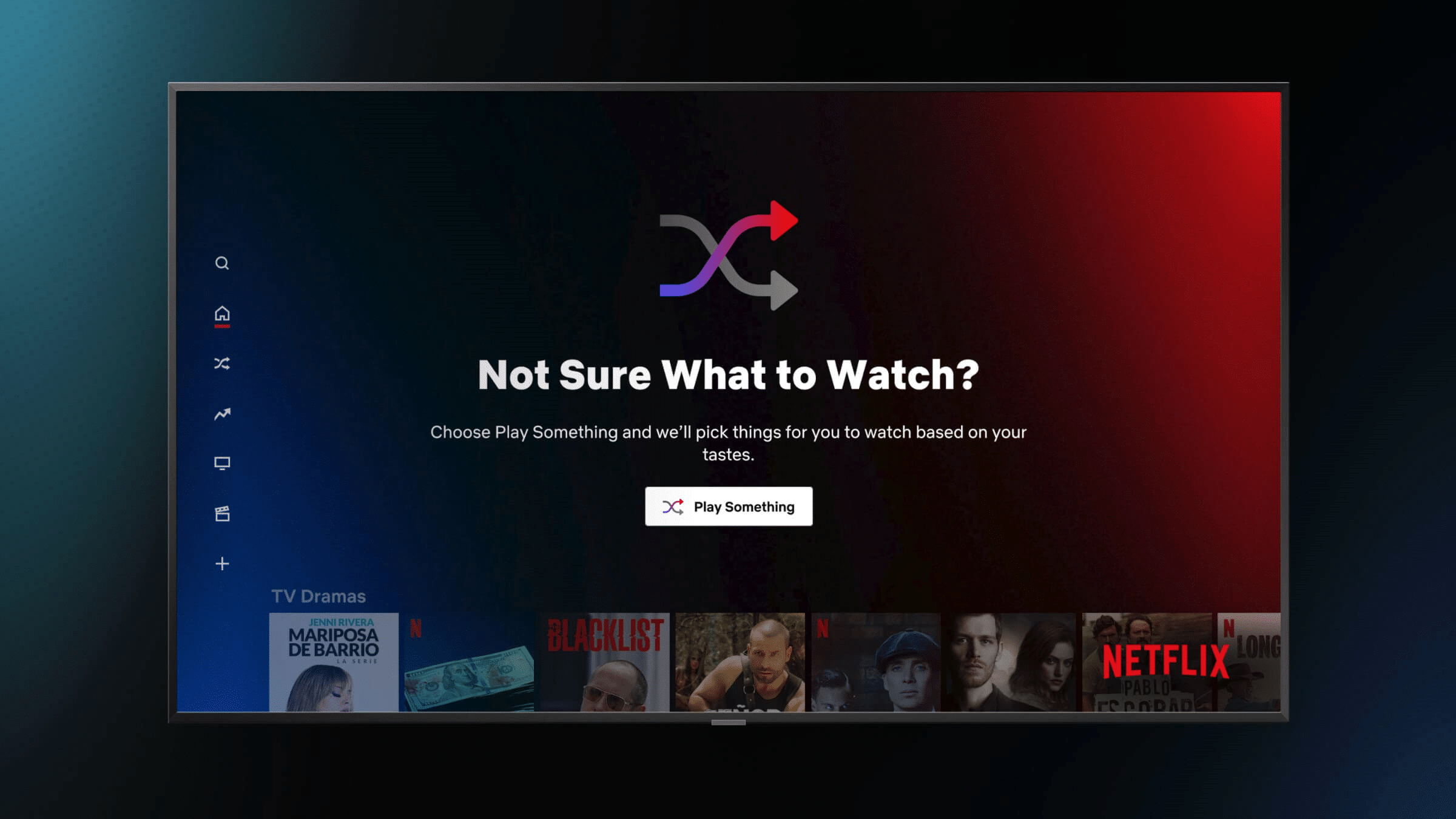 """The new Netflix feature that allows people to click on a """"Play Something"""" button and watch a movie or series based on their tastes."""