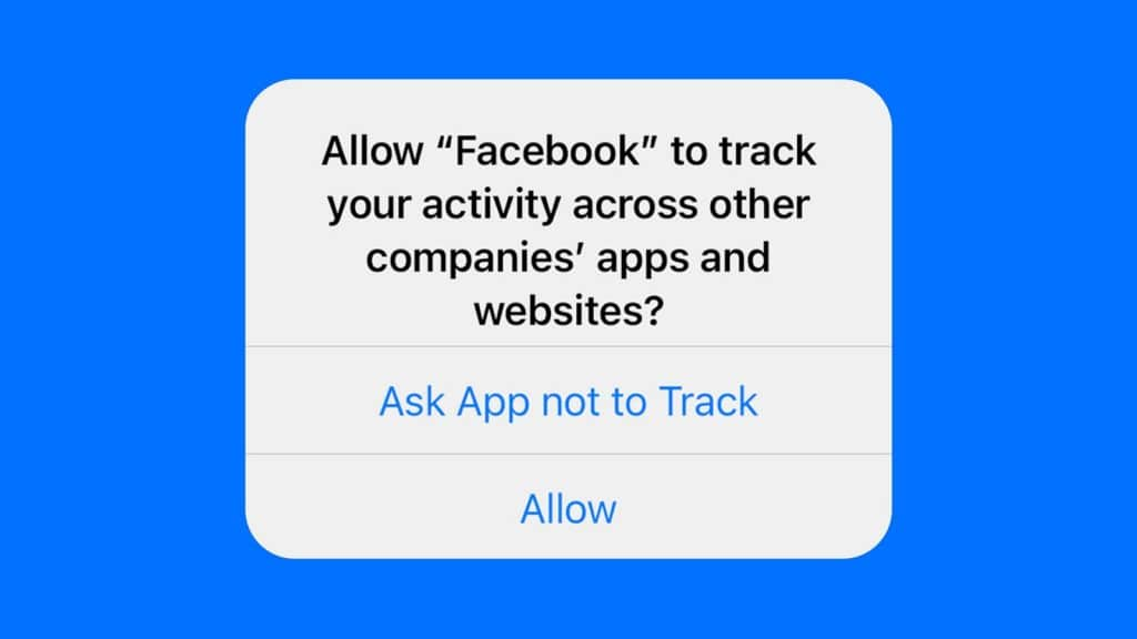 A popup on an iPhone or iPad asking if users want the Facebook app to track their activities.