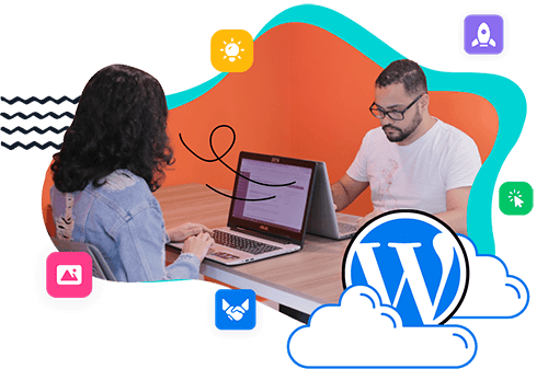 Two people working with WordPress
