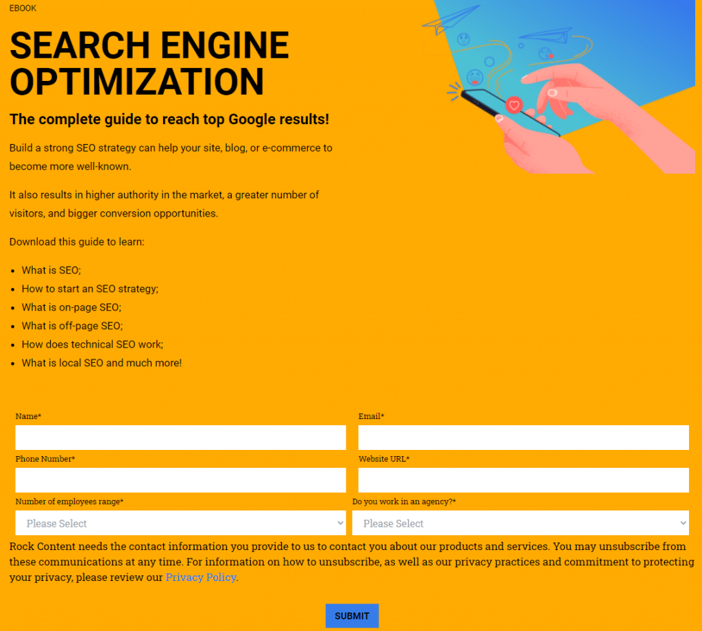 An example of a landing page with a form.