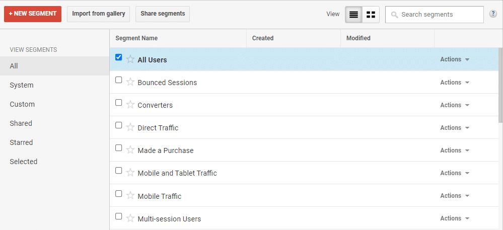 Segmenting on Google Analytics