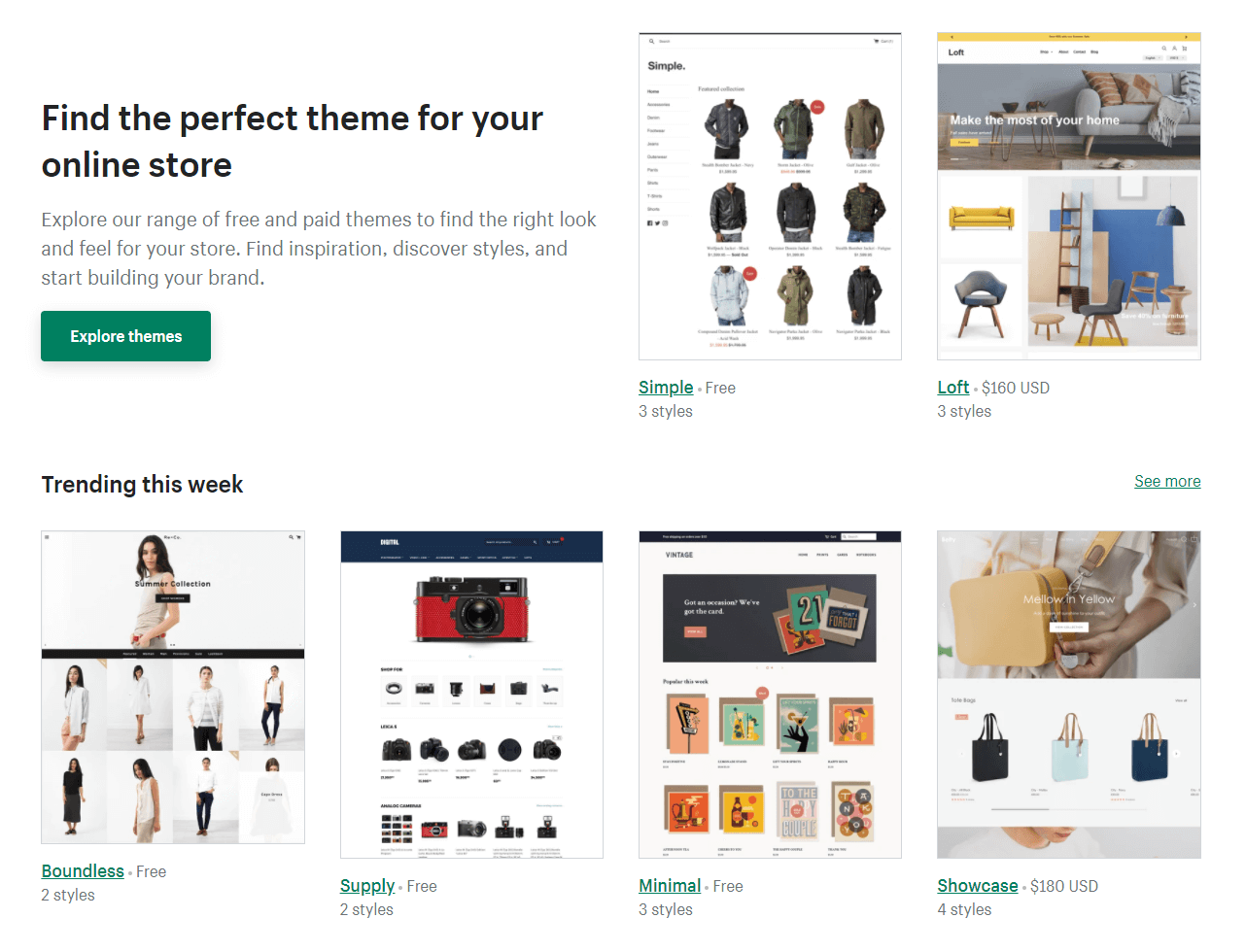 Picking themes for an online store on Shopify.