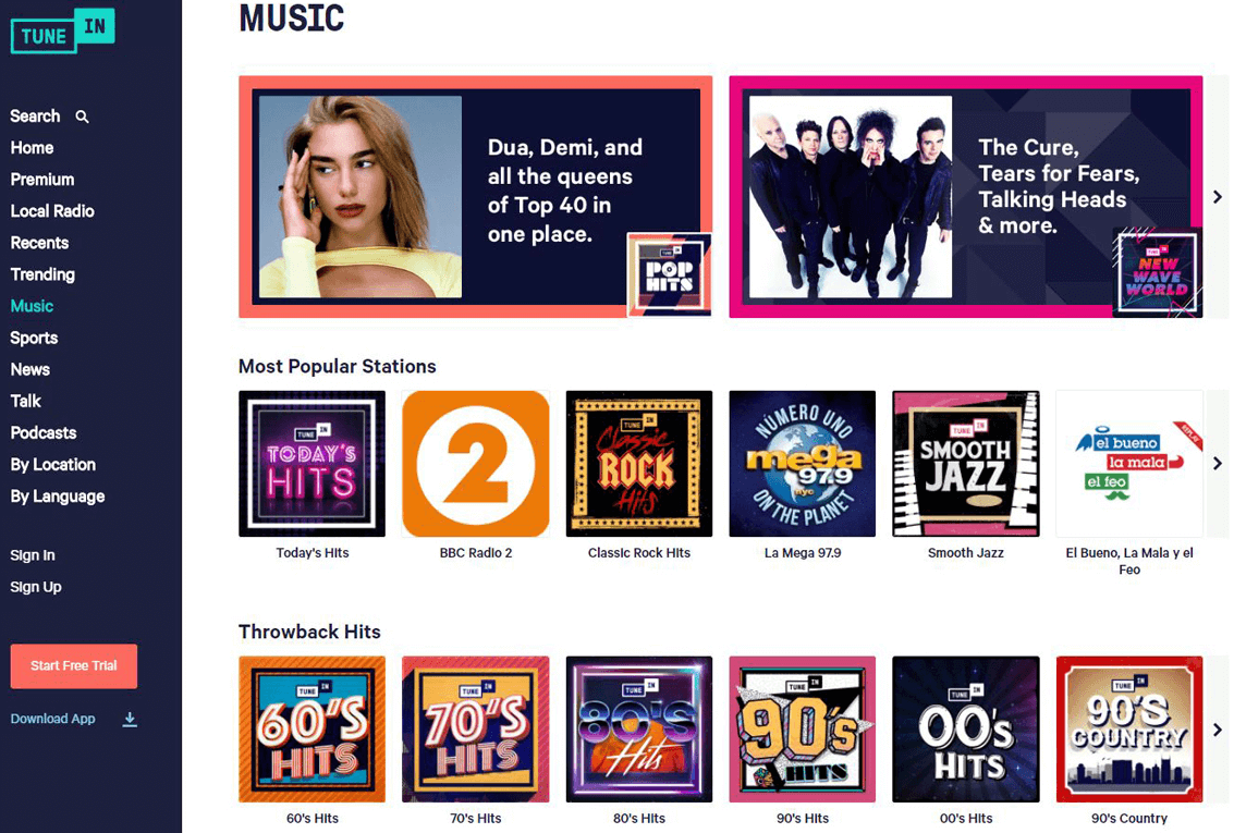The TuneIn platform showing several options of radio stations and songs to listen to on