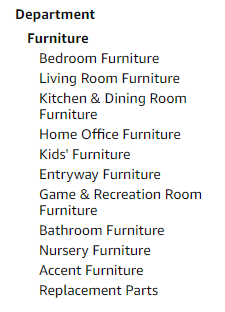 The Furniture category.
