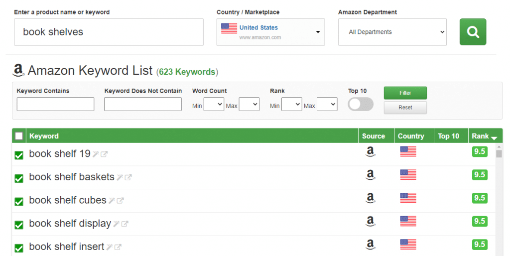 """""""Book shelves"""" search in the Keyword Dominator tool."""