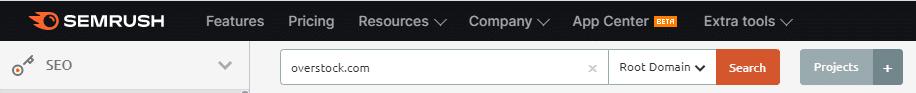 Overstock domain in SEMrush.