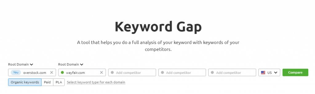 Comparing domains with keyword gap.