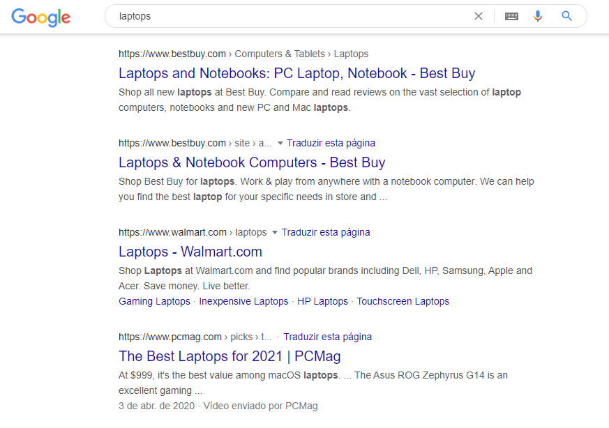 """Google search for """"Laptops""""."""