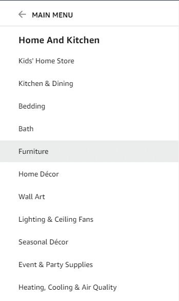 Categories in Amazon.