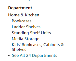 Departments in Amazon.