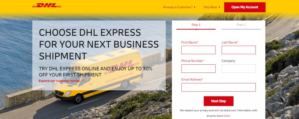 DHL Express' landing page.